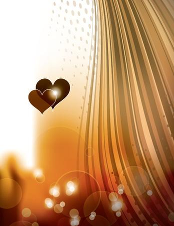 shiny hearts: Abstract Orange Shiny Background with Hearts.