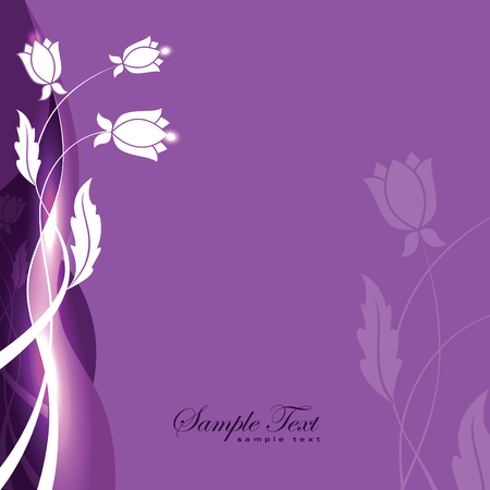 neon plant: Abstract Purple Shiny Background with Flowers.