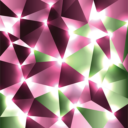 Abstract Shiny Background. Pink and Green Sparkly Geometric Illustration. 向量圖像