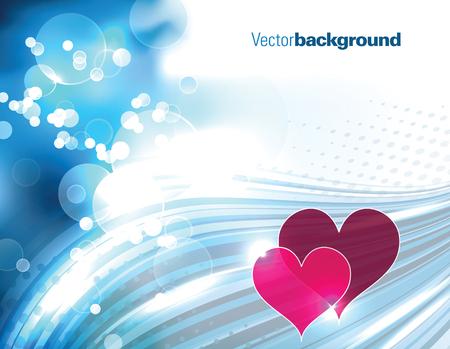 shiny hearts: Abstract Shiny Blue Background with Hearts. Illustration