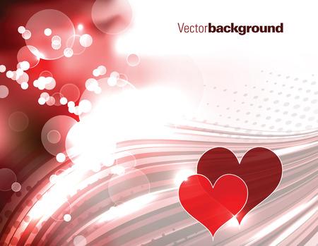 shiny hearts: Abstract Shiny Red Background with Hearts.