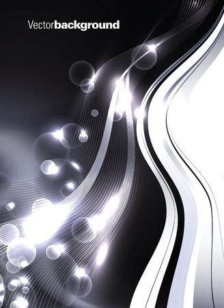 Abstract Shiny Vector Background. Silver Illustration with Waves and Bubbles. Illustration