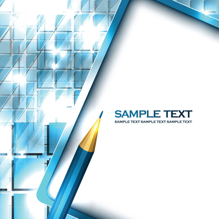 Notepad and Pencil. Abstract Vector Blue Background.