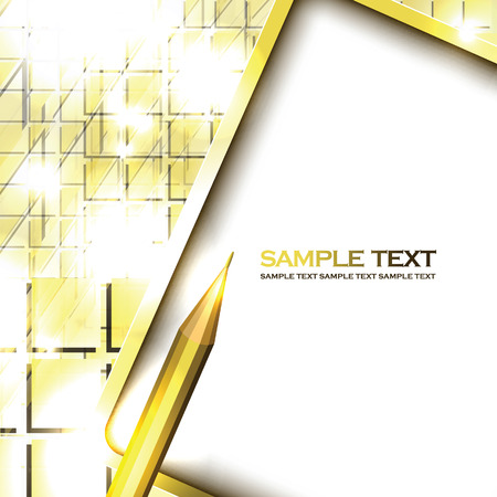 Notepad and Pencil. Abstract Vector Yellow Background. Vettoriali