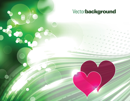 Abstract Vector Green Background with Hearts.
