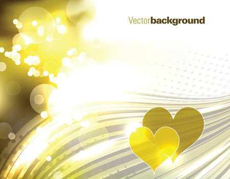 Abstract Vector Golden Background with Hearts. Çizim