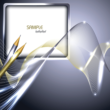 Notepad and Pencils. Abstract Vector Silver Background.