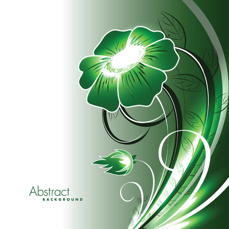 Abstract Vector Floral Background. Green Shiny Illustration. Çizim