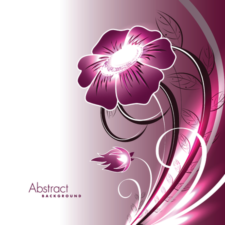 Abstract Vector Floral Background. Pink Shiny Illustration.