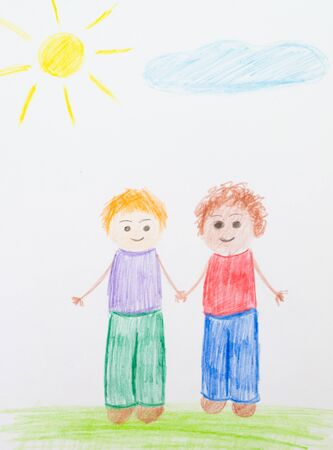 Pencil or pencil as a child`s hand drawn friends, grass, colorful sun. Children paint racism, friendship with a black man and a disabled person in a wheelchair. Zdjęcie Seryjne - 138542787