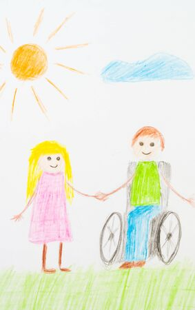 Pencil or pencil as a child`s hand drawn friends, grass, colorful sun. Children paint racism, friendship with a disabled person in a wheelchair.