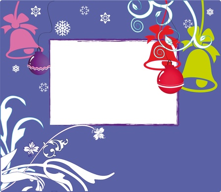 New Years card with toys and hand bells