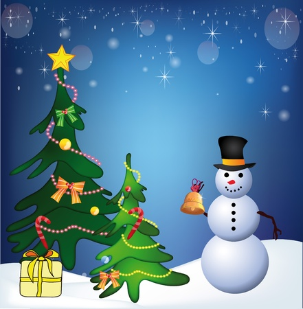 Christmas picture with the snowman and fur-trees Vector
