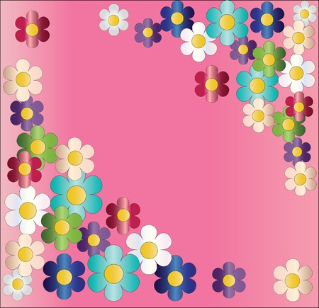 Multi-colored flowers on a pink background