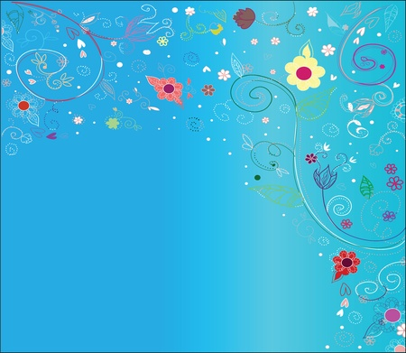 Multi-colored flowers on a blue background Illustration