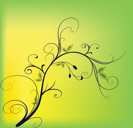 Beautiful branch on a yellow background