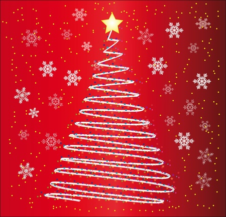 Christmas fur-tree on a red background with snowflakes