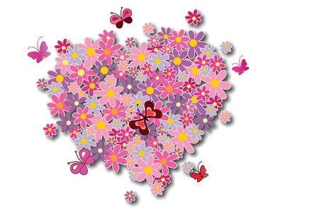 Heart from flowers Stock Vector - 12492208