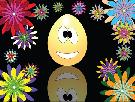 the picture with an Easter egg and flowers Stock Vector - 13170266
