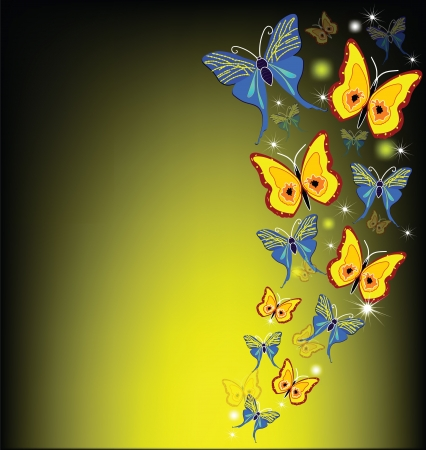 colourful butterflies on a multi-colored and dark background