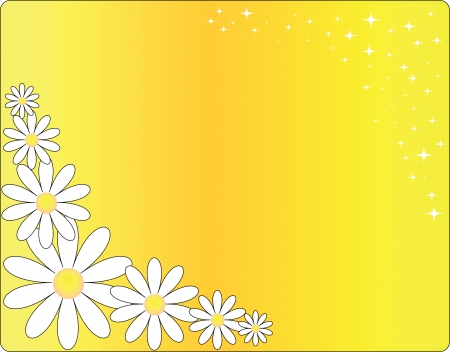 bright yellow card with camomiles and stars Stock Vector - 13758978