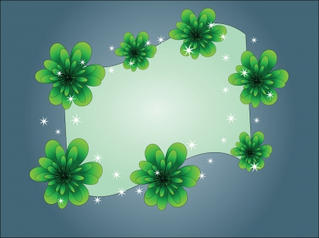 beautiful dark blue card with green flowers Stock Vector - 13758955