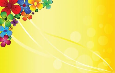 multi-colored beautiful flowers on a yellow background