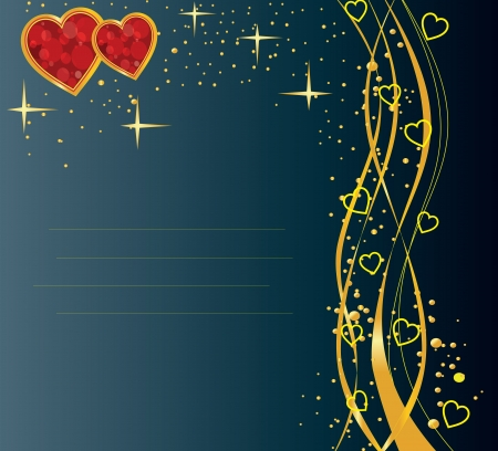 dark blue card with golden lines and hearts Illustration
