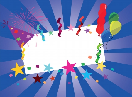 festive greeting card with balloons and fireworks