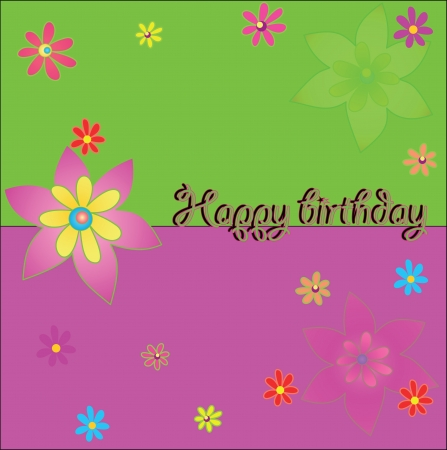 multi-colored greeting card with lovely flowers Illustration