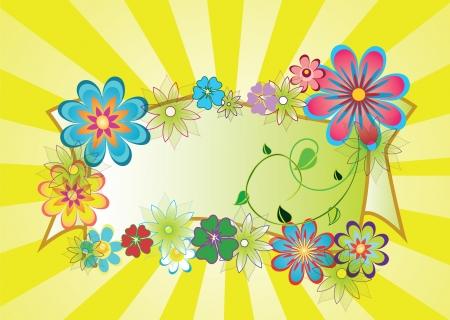 image jaune avec poutres et belles fleurs