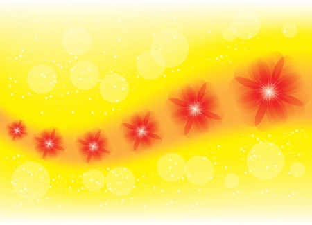 beautiful picture with red flowers on a yellow background