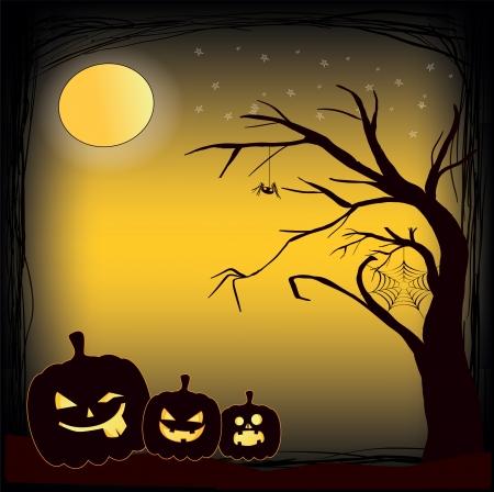 festive card with malicious pumpkins on the Halloween