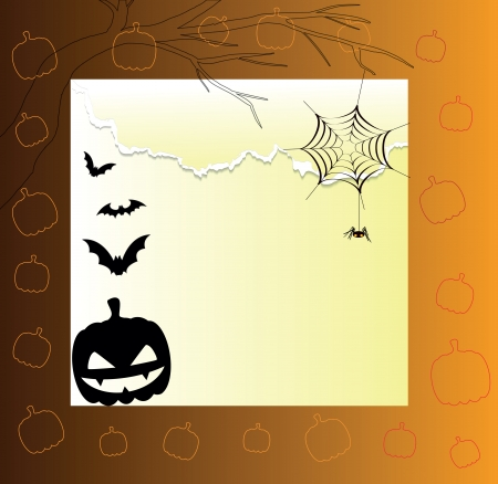 beautiful card with a pumpkin and bats on the Halloween