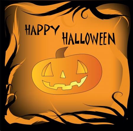 festive card with a kind pumpkin on the Halloween