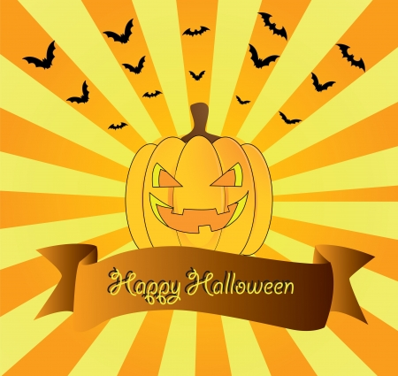 beautiful festive picture with a pumpkin and beams on the Halloween Stock Vector - 15490303