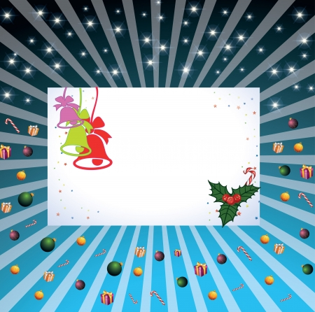 Christmas card with beams, with candies and gifts