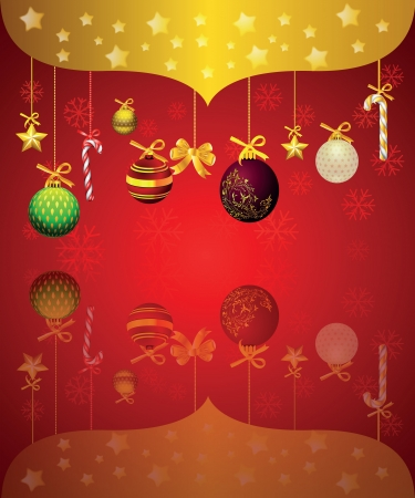 card with a red background and Christmas tree decorations
