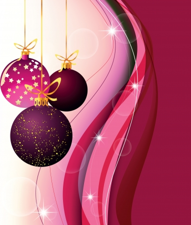 picture with Christmas balls on a claret background with waves