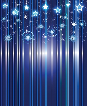 stars and snowflakes on a beautiful dark blue background Illustration