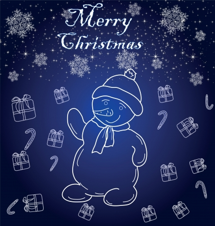 cheerful snowman on a blue background with snowflakes Illustration