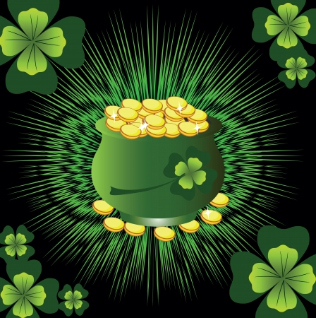 card with a clover and a pot with gold against a dark background