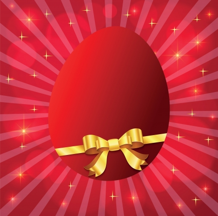 beautiful card with a red Easter egg