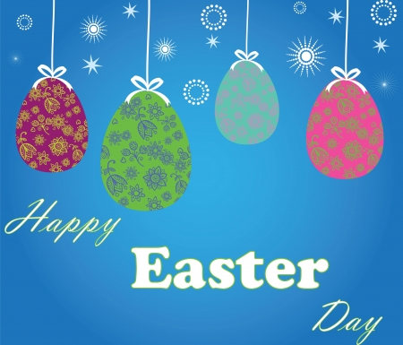 Easter eggs on a beautiful blue background Illustration