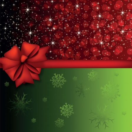 Christmas card with two color background and a bow