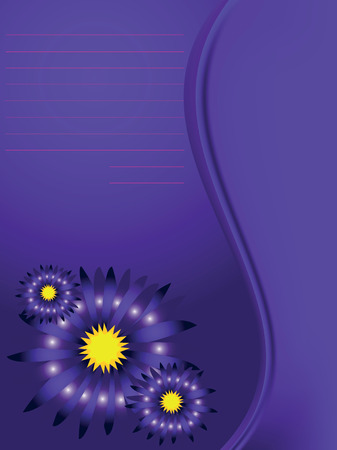 violet card with beautiful small flowers Illustration