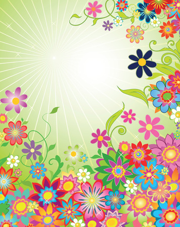 beautiful summer card with beams and flowers