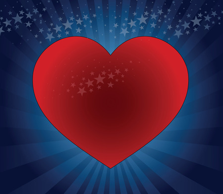 big red heart on a blue background with stars