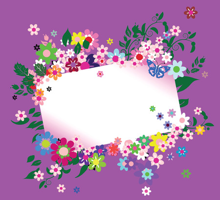 bright greeting card with beautiful flowers Illustration
