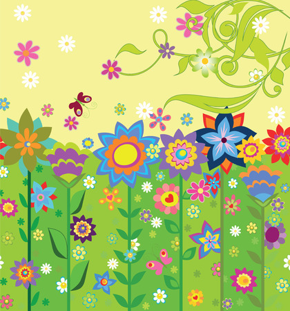 the picture with flowers on a multi-colored background